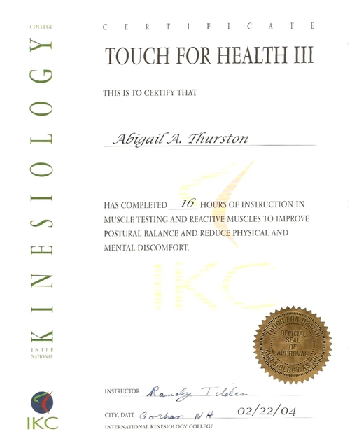 Touch For Health I (T4H) Applied Kinesiolgy
